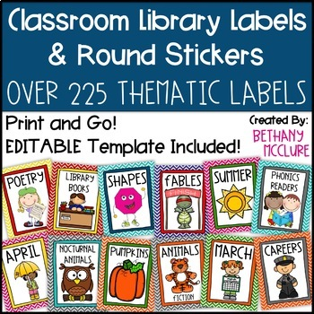 EDITABLE Classroom Library Labels for Bins and Books - Chevron