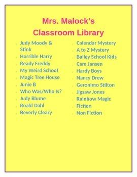 Classroom Library Book List