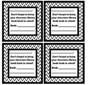 Classroom Library Book Return Reminders FREEBIE