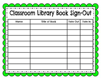 Classroom Library Book Sign Out