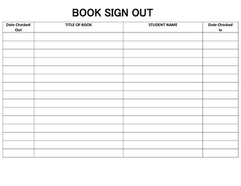 Classroom Library Book Sign Out/In Sheet