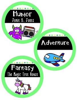 Classroom Library Bright Genre Labels