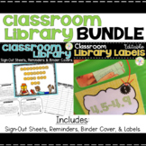 Classroom Library Bundle - Labels, Sign-Out Sheets, Reminders, Binder Cover