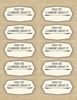 BOOKPLATES for Classroom Library - BURLAP - 4 sheets - Fillable PDF