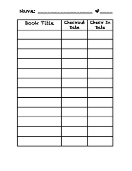 Classroom Library Checkout Chart for Students