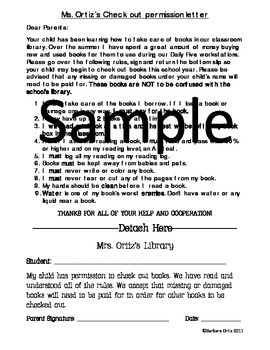 Classroom Library Checkout Letter