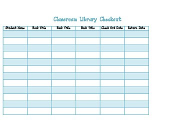 Classroom Library Checkout List for Teachers and Students