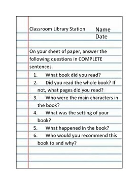 Classroom Library Form