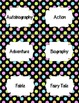 Classroom Library Genre Labels - Black and Neon Polka Dots