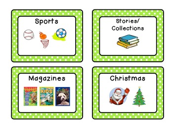 Classroom Library Genre Labels: Green & White Polka Dots