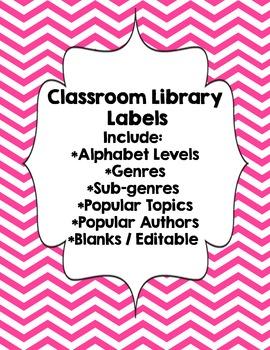 Classroom Library Genre Labels Pink Chevron