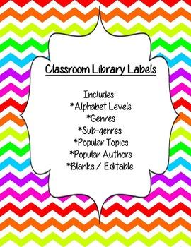 Classroom Library Genre Labels - Rainbow Chevron