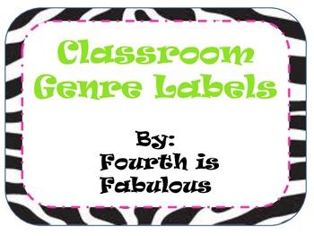 Classroom Library Genre Labels- Zebra print