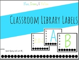 Classroom Library Label - Green, Blue, & Yellow