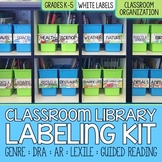 EDITABLE Classroom Library Labeling Kit - White Labels