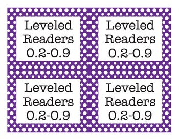 Classroom Library Leveled Reader Labels