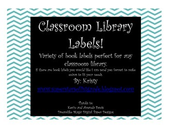 Teal and Black Chevron Classroom Library Labels