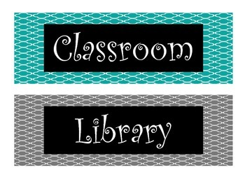 Pink, Gray, and Teal Foil Designed Classroom Library Labels