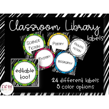Editable Classroom Library Labels