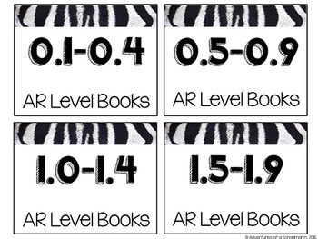 Classroom Library Labels Accelerated Reader Levels