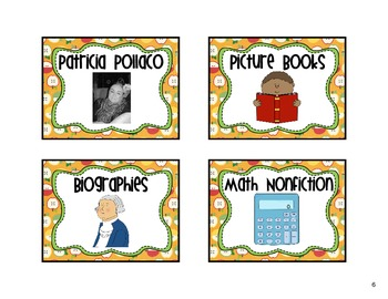 Classroom Library Labels Apple Theme