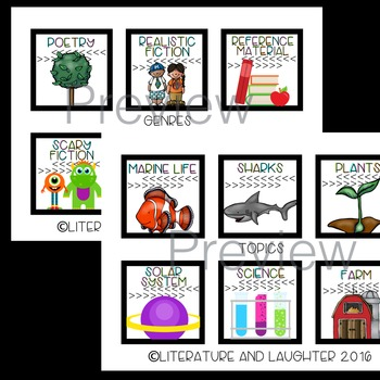 Classroom Library Labels BUNDLE: Black and White & Brights