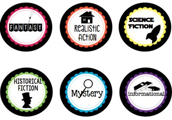 Classroom Library Labels - Black & Rainbow