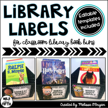 Library Labels - Black & White Chevron