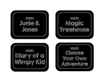 Classroom Library Basket Labels | Black & White Rectangular Design