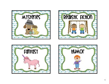 Classroom Library Labels Blue Green Butterfly