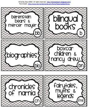Classroom Library Labels {Book Basket Labels}