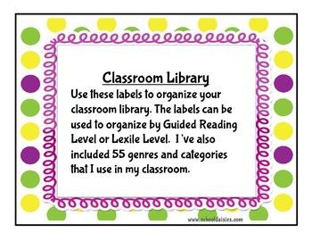 Classroom Library Labels/ Book Bin Labels