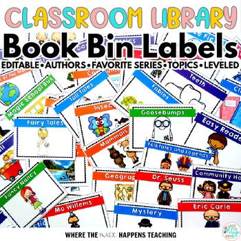 Classroom Library Book Bin Labels - EDITABLE-