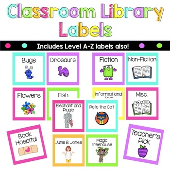 Classroom Library Labels - Book Bin Labels