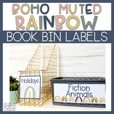 Classroom Library Labels, Book Bin Labels, Boho Rainbow