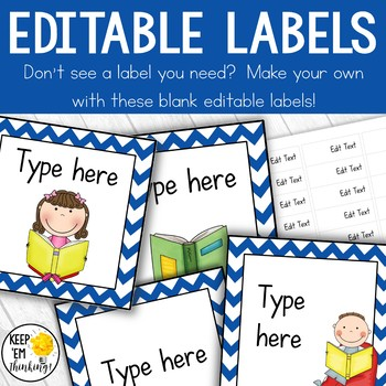 Classroom Library Labels: Book Bin Labels & Matching Book Labels Blue Chevron