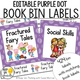 Classroom Library Labels: Book Bin Labels & Matching Book Labels Purple Dots
