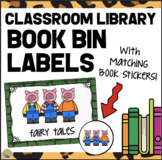 Classroom Library Labels - Book Bin Labels with Book Stickers WOOD FRAME