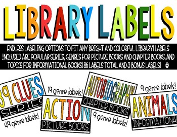 Classroom Library Labels - Bright & Black