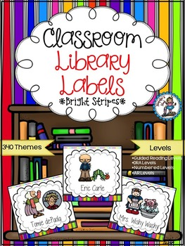Classroom Library Labels {Bright Stripes}