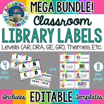 Classroom Library Labels Bundle EDITABLE