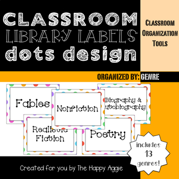 Classroom Library Labels: By Genre (Dots)