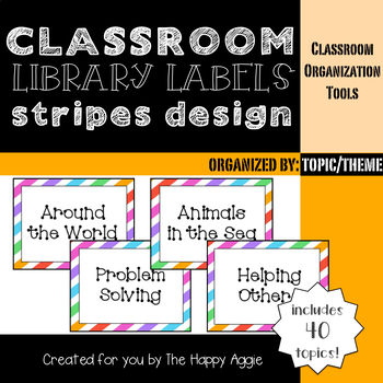 Classroom Library Labels: By Topic or Theme (Stripes)