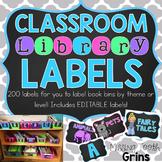 Classroom Library Labels {Chalkboard} EDITABLE