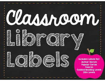 Classroom Library Labels Chalkboard and Apple Theme