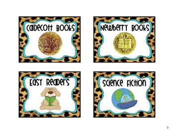Classroom Library Labels Cheetah Theme