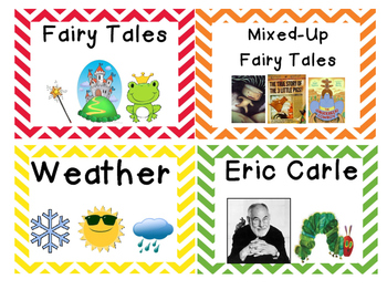 Classroom Library Labels (Chevron Pattern)