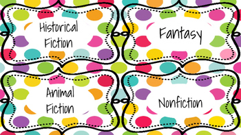 Classroom Library Labels Colorful Polka Dots