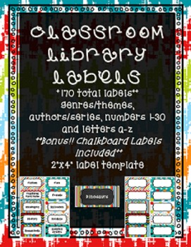 Classroom Library Labels -- Dots on Turquoise and Chalkboard
