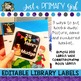 Classroom Library Labels EDITABLE - {White}